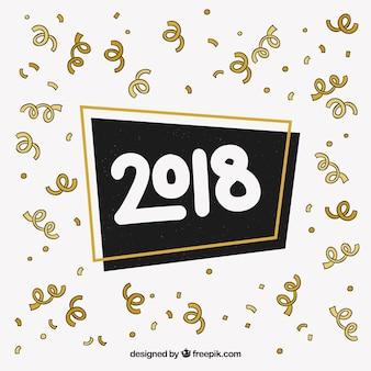 Handgezeichnete neujahr hintergrund mit streamer
