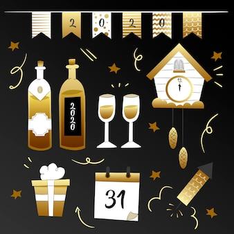 Handgezeichnete neujahrsparty elementsammlung