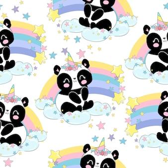 Handgezeichnete niedliche baby panda einhorn und regenbogen nahtlose muster vektor-illustration, kindischer druck sommer