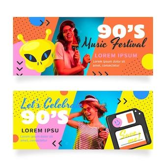 Handgezeichnete nostalgische 90er-banner