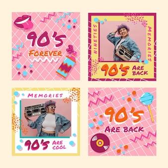 Handgezeichnete nostalgische 90er instagram-posts mit foto