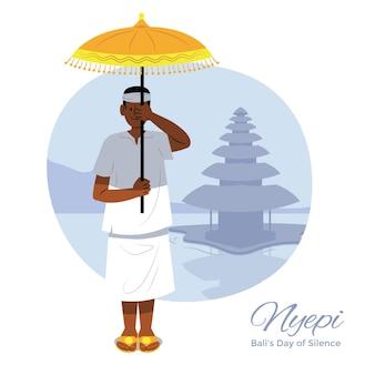 Handgezeichnete nyepi-illustration mit mann, der regenschirm hält