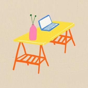 Handgezeichnete objektvektormöbel im bunten flachen grafikstil