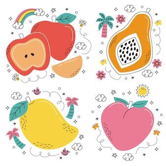 Handgezeichnete obst- und gemüseaufkleber