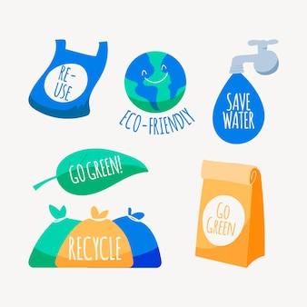 Handgezeichnete ökologie-abzeichen