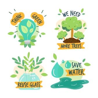 Handgezeichnete ökologie-abzeichensammlung