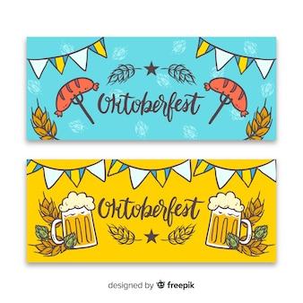 Handgezeichnete oktoberfest banner vorlage