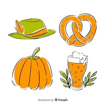 Handgezeichnete oktoberfest elementsammlung