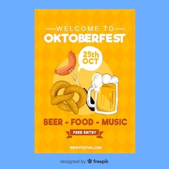 Handgezeichnete oktoberfest flyer vorlage
