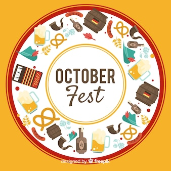Handgezeichnete oktoberfest hintergrund mit elementen