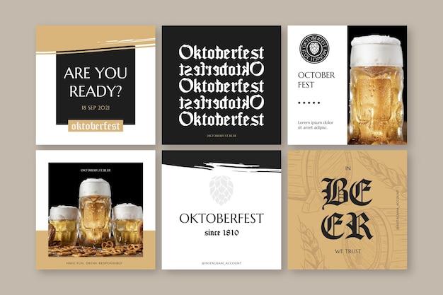 Handgezeichnete oktoberfest instagram posts sammlung