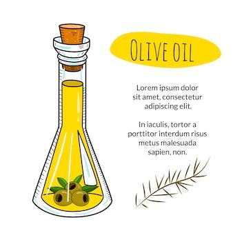 Handgezeichnete olivenölflasche