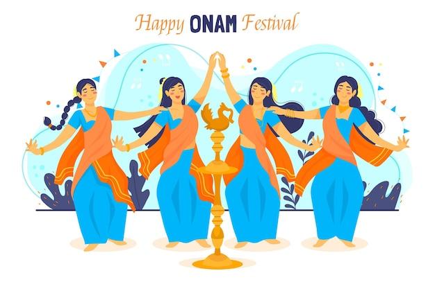 Handgezeichnete onam-illustration