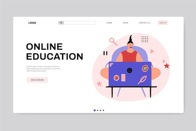 Handgezeichnete online-landingpage für bildung