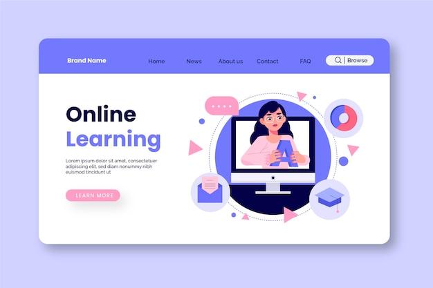 Handgezeichnete online-lern-landingpage
