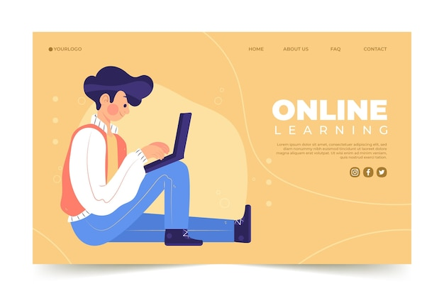 Handgezeichnete online-lernhomepage