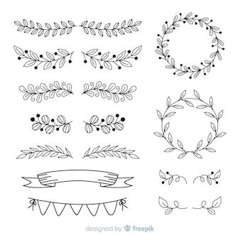 Handgezeichnete ornamente für hochzeit