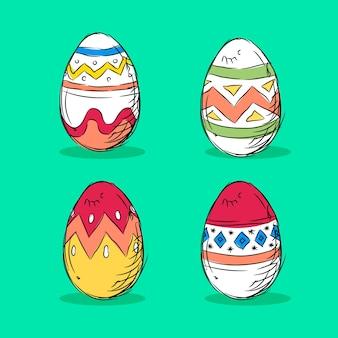 Handgezeichnete ostertag eiersammlung