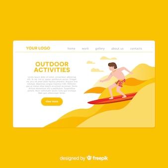 Handgezeichnete outdoor-aktivitäten landing page