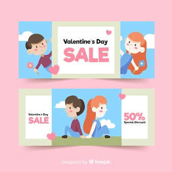 Handgezeichnete paar valentinstag verkauf banner