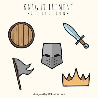 Handgezeichnete packung medievale elemente