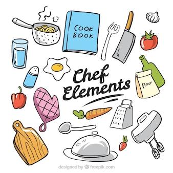 Handgezeichnete packung von chef-elementen