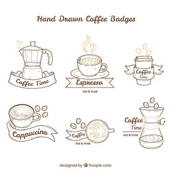Handgezeichnete packung von großen kaffee abzeichen