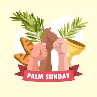 Handgezeichnete palmensonntagsillustration mit hand, die lorbeeren hält