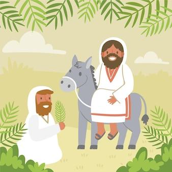 Handgezeichnete palmensonntagsillustration mit jesus und esel