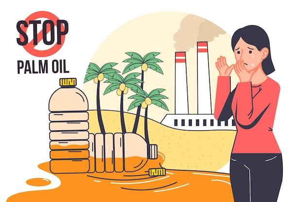 Handgezeichnete palmöl produzierende industrieillustration