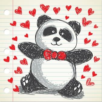 Handgezeichnete panda, geeignet für valentin event