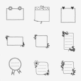 Handgezeichnete papier notizen schreiben
