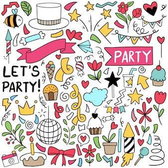 Handgezeichnete party doodle alles gute zum geburtstag elemente