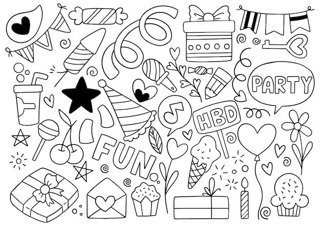 Handgezeichnete party doodle alles gute zum geburtstag ornamente hintergrundmuster vektor-illustration