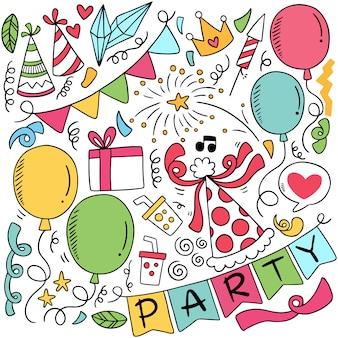 Handgezeichnete party doodle alles gute zum geburtstag ornamente hintergrundmuster