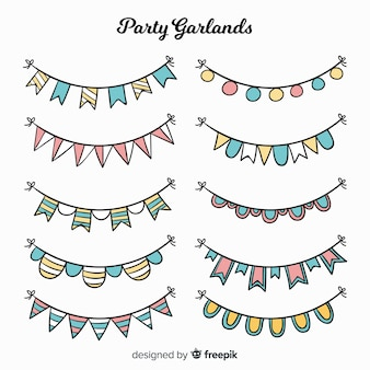 Handgezeichnete party girlande set