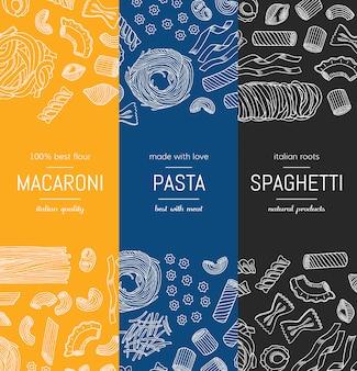 Handgezeichnete pasta typen vertikale banner plakatvorlagen