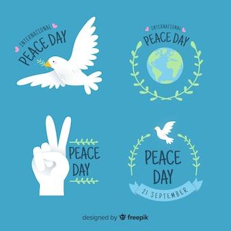 Handgezeichnete peace day label-auflistung