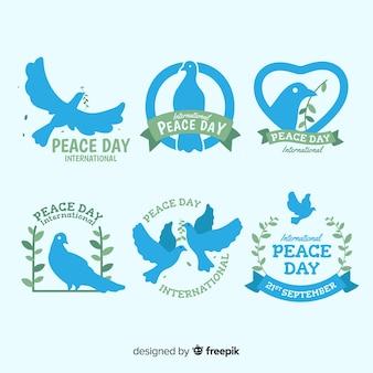 Handgezeichnete peace day label kollektion