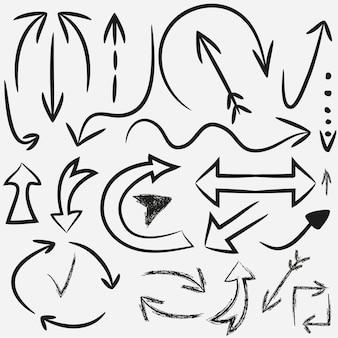 Handgezeichnete pfeile. vektorsatz von führungszeigern. tinte, schmutz.