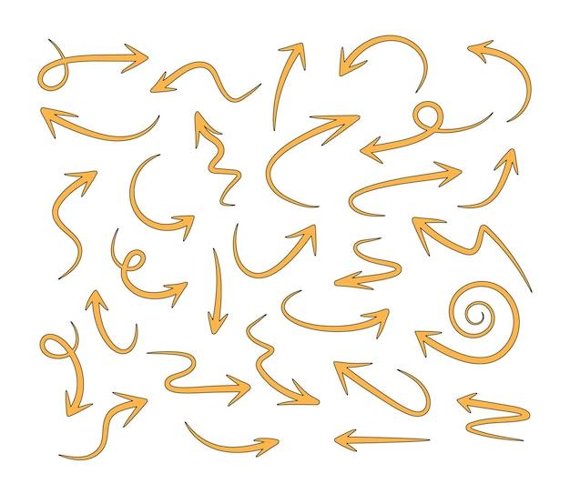 Handgezeichnete pfeilvektorsymbole setskizzenpfeildesign für geschäftsplan und bildung