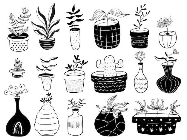 Handgezeichnete pflanzen- und vasenskandinavische illustration im monochromstil