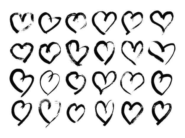 Handgezeichnete pinselherzen. satz von vierundzwanzig schmutzschwarzgekritzelherzen auf weißem hintergrund. romantisches liebessymbol. vektor-illustration.