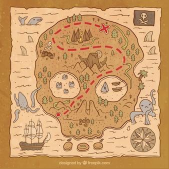Handgezeichnete piratenschatzkarte