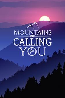 Handgezeichnete plakat-tierwelt. wintersonnenuntergang im wald. mit dem slogan berge rufen nach dir