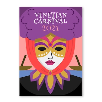 Handgezeichnete plakatschablone der venezianischen maske des karnevals