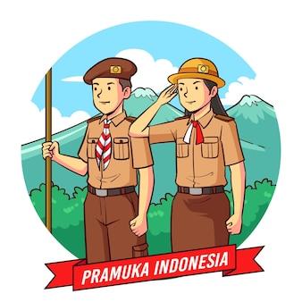 Handgezeichnete pramuka-tagesillustration