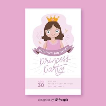 Handgezeichnete prinzessin party einladung