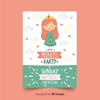 Handgezeichnete prinzessin party einladungsvorlage