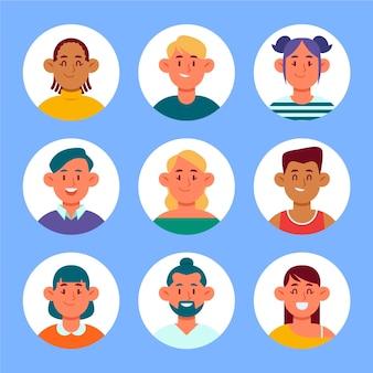 Handgezeichnete profilsymbolsammlung